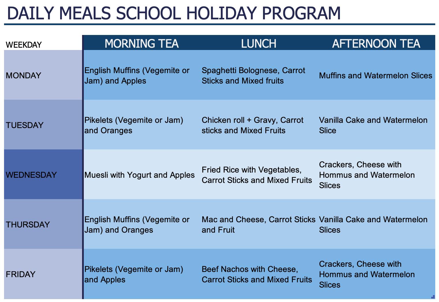 Daily School Holiday Menu
